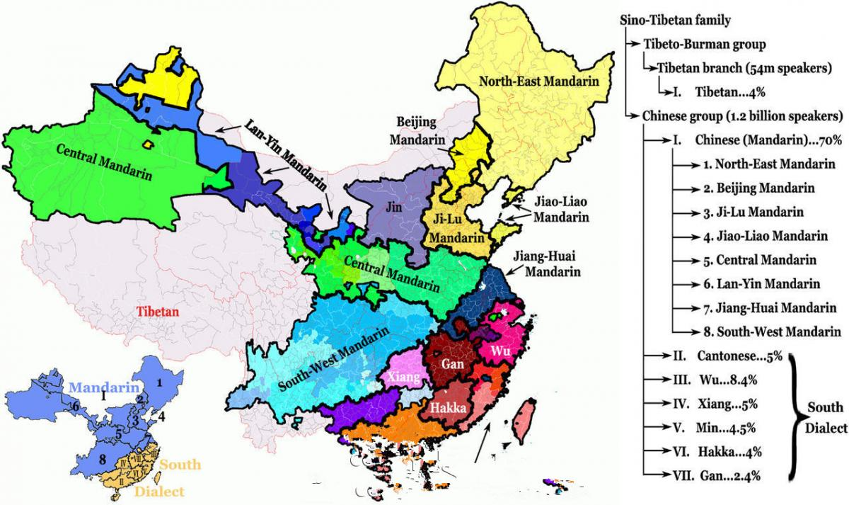 A map of Chinese dialects NonMandarin Chinese Chineseforumscom