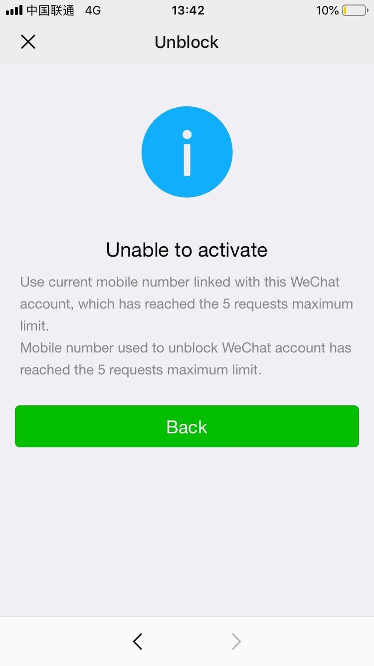 Account activity due suspicious wechat to blocked Due To